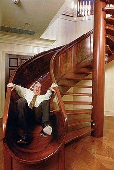 Stair Slide -- not for a main part of the house, but if kids had a room in the attic ! House Staircase, Staircase Design, Stair Slide, Slide Staircase, Spiral Staircase, Indoor Slides, Pool Slides, Log Cabin Homes, Log Cabins