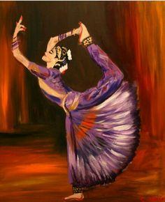 A stunning painting of a Bharatanatyam dancer.
