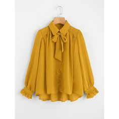 Yellow Elegant Collar Long Sleeve Polyester Plain Oversized Button Tie Neck Knot Frill Asymmetrical Fabric has no stretch Spring Fall Shirt Blouses, Style: Ele…