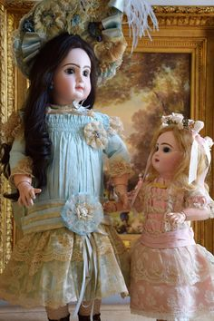 Striking presentation of a beautiful doll with first out of the mold modeling and gorgeous coloring. She is a 22 French Bisque Antique doll by Emile