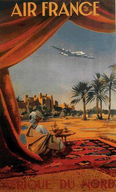 """Love vintage travel posters. Air France vintage travel poster """"Afrique du Nord"""""""