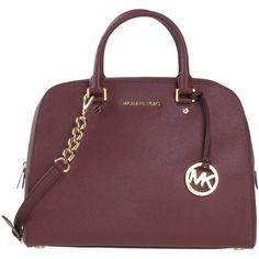 Michael Michael Kors Handbag ($330) ❤ liked on Polyvore featuring bags, handbags, purses, maroon, leather purse, leather bags, 100 leather handbags, leather doctor bag purse e real leather purses
