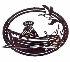 """16"""" Dog Waiting in Boat with Ducks Metal Wall Art by Kathryn Darling"""