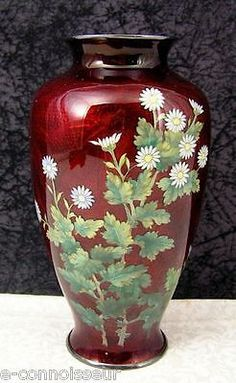 Vintage Japanese Ginbari Ando Shippo Cloisonné Akasuke Red Floral Vase