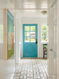 Painting your front (or main entry) door a dazzling color immediately boosts a home's appeal, both inside and outside. Choose a paint color that complements adjacent walls and suits your decorating palette. Use high-gloss or semi-gloss paint to create a durable, easy-clean finish that will stand-up to dirty hands, rain-soaked traffic, and snowy boots.