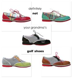 Not your grandma's golf shoes! Madras, Patent leather, wingtip golf shoes for women. Use BFCM14 at Checkout to get a significant discount -- 30% off.