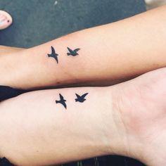 Tiny Bird Tattoos, Small Star Tattoos, Tiny Tattoos For Women, Cool Small Tattoos, Random Tattoos, Small Matching Tattoos, Matching Sister Tattoos, Maching Tattoos, Bird Tattoo Wrist