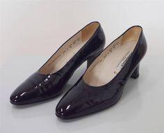 Vintage 1960's Salamander Ladies Black Patent Leather Court Shoes Heels Size 6.5 in Clothes, Shoes & Accessories, Vintage Clothing & Accessories, Women's Vintage Shoes