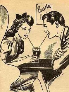 "Soda Fountain: 19th Century Courtships – Kristin Holt | Courting couple sharing a single glass of soda, with two straws; an iconic American ""dating"" image. This particular image shows the trademarked Coca-Cola-shaped glass and styles of the 1940s to 1950s. Image: Pinterest."