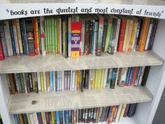 Bookshelf with favorite book excerpts chosen by students.  This is an auction idea.