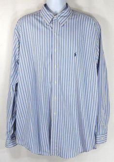 26dccbcb77ff3b Ralph Lauren Men s Shirt Mens Size 18 XXL White Blue Stripes Cotton Classic  Fit  RalphLauren  ButtonFront