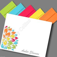 Personalized Stationery Note Card Thank You Peony Flower Floral With Assorted Color Envelopes