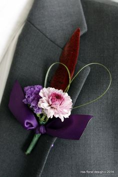 Riss Floral Boutonniere Purple and Red