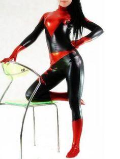 Black Metallic  Mummy Style Lycra Spandex Halloween Party Zentai Costume S-XXL