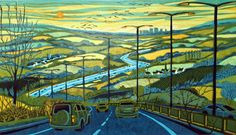 Gail Brodholt RE, The Motorway, linocut. Contact info@banksidegallery.com for further details. See www.banksidegallery.com for other prints and paintings.
