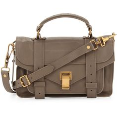 Proenza Schouler PS1 Mini Satchel Bag ($1,550) ❤ liked on Polyvore featuring bags, handbags, sacs, bolso, borse, proenza schouler, smoke, brown leather satchel, brown satchel purse and brown leather handbags