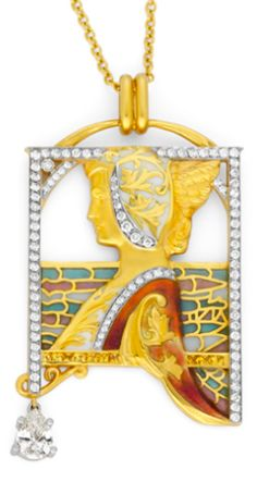 LADY NEWS PB-652 18 carat yellow gold pendant with brilliant cut diamonds of a total weight of 1.95 carats and fired enamel.   --Bagués Masriera-- Barcelona Jewellers since 1839