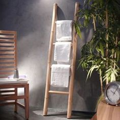 Buy Tikamoon Bam'Bou Towel Holder from our Towel Rails range - Tesco Bathroom Ladder, Bamboo Bathroom, Zen Bathroom, Bathrooms, Bamboo Ladders, Towel Rail, Solid Wood Furniture, Towel Holder, Decoration
