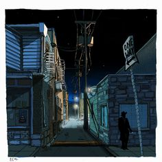 Avi A. Bloomington Alley at night. The Night Owl. Night time alley on west side of court house in Bloomington IN. The end of the post office in Bloomington. Night Illustration, Alley Cat, Night City, Fantasy Landscape, Character Design References, City Streets, Dark Backgrounds, Artist At Work, Illustrations