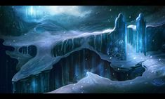 The frozen gates of Narasque. Created by the ram-people of the arctic tundra, the Rietam (ree-tam) to protect their southern borders. Luxurious ruins eco tails of a once great empire, but only scattered tribes remain of its people.