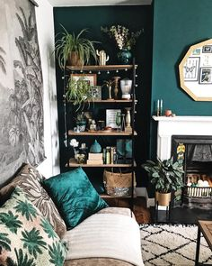 living room home decor you will definitely want to try 27 < Home Design Ideas Dark Living Rooms, Living Room Green, Living Room With Fireplace, Rooms Home Decor, Accent Walls In Living Room, Boho Living Room, Home Decor, Tall Shelves, Cosy Living Room