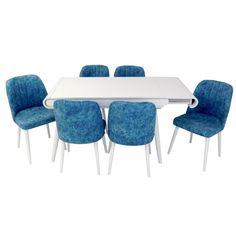 Set masa living Vegas Alba cu scaune albastre Dining Chairs, Dining Table, Vegas, Doors, Interior, Furniture, Home Decor, Decoration Home, Indoor