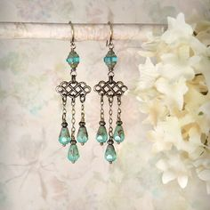 Pompeii - Aqua Opal Chandelier Earrings, Beach Wedding, by MiaMontgomery
