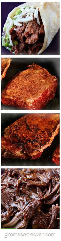 Slow Cooker Shredded Beef Tacos | gimmesomeoven.com