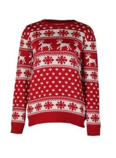 70bf2676fd Red   White Snowflake Raindeer Christmas Jumper Festive Jumpers