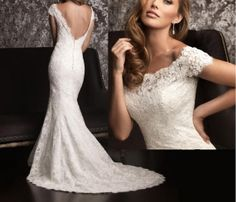 Sexy white / ivory lace Mermaid wedding dress lace by Swarovski169, $179.00