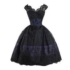 Vintage 1950s Black Glitter Flocked Lace Dress