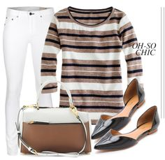 So Chic in a J. Crew sweater, white jeans, and black patent flats