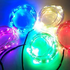 48.32$  Know more  - One combo 4pcs 10 meter Flexible Copper Wire LED Light red green blue warm color Kung mix Christmas lighting with adapter
