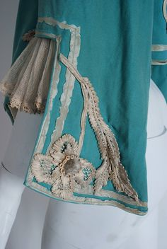 1890's Victorian Antique Tiffany-Blue Applique Wool Bell-Sleeve Cropped Jacket image 5
