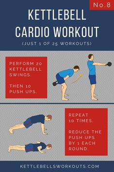 Kettlebell Cardio Workout Number 8 of 25. A great kettlebell workout for fat loss and an effective kettlebell swing workout too. Can you complete this kettlebell workout in under 10 minutes?