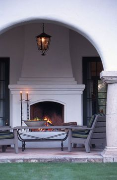Fireplace - Spanish Colonial Cottage - Architect Bob Easton - David Michael Miller Associates