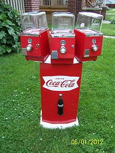 Rare 1950s 3x gumball/nut dispenser, custom made and awarded to Coca Cola division managers for their offices when their millionth case of soda was sold - as seen on eBay