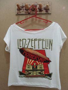 Camiseta Gola Canoa Led Zeppelin Cor: Branca Tamanho: único R$ 45,00  www.elo7.com.br/dixiearte