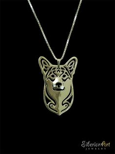 Pembroke Welsh Corgi pendant and necklace - 18K gold plated sterling silver