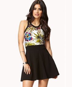 Floral Print Combo Skater Dress | FOREVER21 Who's planning a topical vacation? Pack this #SunDress #Summer