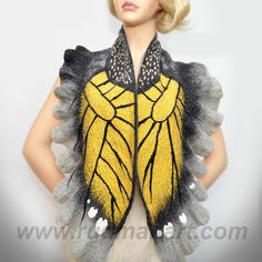 Felted scarf Wrap Shawl Wool Monarch butterfly. Organic natural eco materials Gray Dark Gray Mustard Yellow. $129.00, via Etsy.