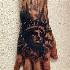 Statue of Liberty Hand Tattoo statueoflibertytattoo Statue Of Liberty Drawing, Statue Of Liberty Tattoo, Skull Hand Tattoo, Hand Tattoos, Sleeve Tattoos, Indian Girl Tattoos, Austin Tattoo, J Tattoo, Hunting Tattoos