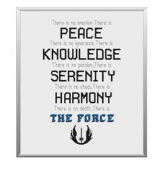 Jedi Code Star Wars Cross Stitch Pattern PDF by CrossStitchedSass