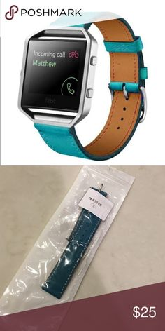 Fitbit Blaze Teal Leather Band 100% Brand new and high quality.   Softness is moderate, wear very comfortable  Compression molding, sturdy and durable  The size can be adjusted according to the circumstance of individual wrist  Quantity:1  Material: PU  Leather  length:22cm  Strap width:2.3cm  Compatible for :Fitbit Blaze Smart Watch  Screws into Fitbit blaze watch holder. fitbit Accessories Watches