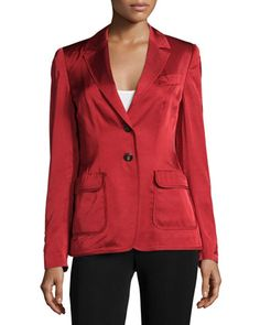 Two-Button+Long-Sleeve+Blazer,+Vermillion+by+Escada+at+Neiman+Marcus+Last+Call.