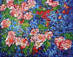 Red Blue Green Dark Rich Cherry Blossom Floral Colorful Electric Blue Bold Painting - Cherry Blossoms 11 201687 by Alyse Radenovic