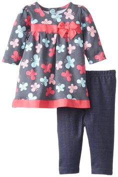 BON BEBE Baby-Girls Newborn Butterfly 2 Piece Dress and Legging Set, Grey/Multi, 3-6 Months
