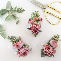 Blush Bridesmaids Combs Gold and Blush by OhDinaFlowerCrowns