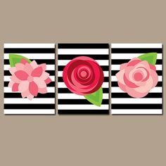 Preppy Flower Wall Art Artwork ROSES Red Pink Black White Stripes Nursery Floral Wedding Bouquet Dahlia Set of 3 Prints Decor Bathroom Three