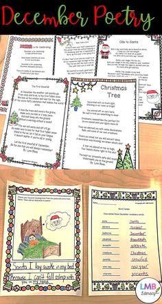 Fun December themed poems to use in your classroom! Hang them on walls, use for instruction, read aloud to students or however else you wish!  This product includes 5 poems both in color and black and white:  Christmas Tree The First Snowfall New Years Eve December is for Celebrating Ode to Santa  Also included are 2 follow up activities-Illustrate the rhyming lines and a word scramble!